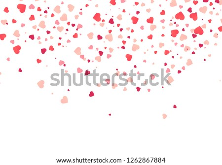 Heart confetti falling down isolated. Valentines day concept. Heart shapes overlay background. Vector festive illustration. Vector