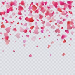 Heart confetti on transparent background, decoration for your valentine's day greeting cards. Vector eps 10