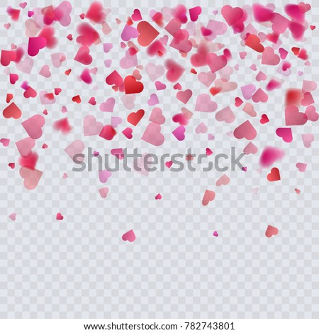 heart confetti on transparent...