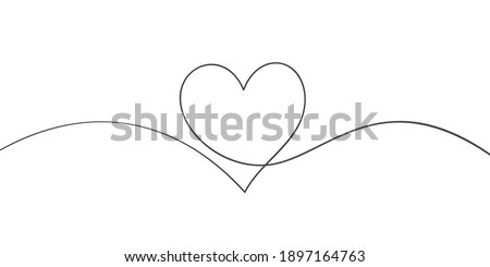 Heart continuous one line drawing, Black and white vector minimalist illustration of love concept made of one line