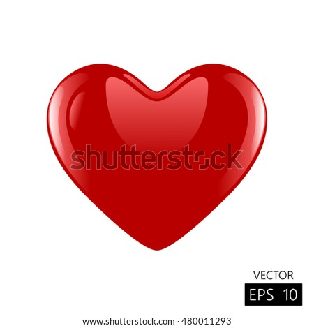 Heart 3d vector. Valentine romantic on white background