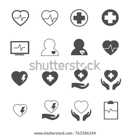 heart defect icons set vector