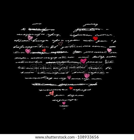 Heart design elements. Love. Handwriting vector background.