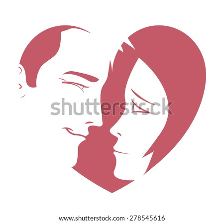 Heart design with the profile of a couple in love expressing emotion to include on a card or other type of sign