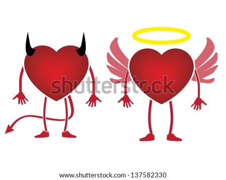 heart devil and angel concept