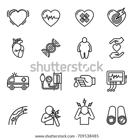 Heart disease, heart attack and symptoms icons set. Line Style stock vector.