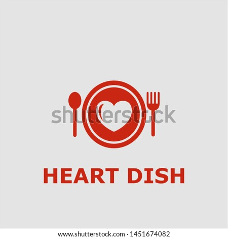 Heart dish symbol. Outline heart dish icon. Heart dish vector illustration for graphic art.