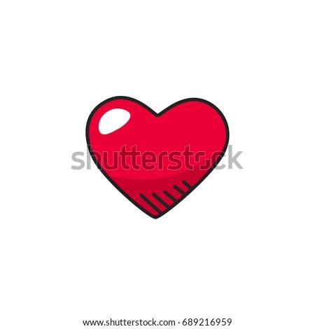 heart doodle icon vector