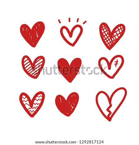 Heart doodle, vector illustration