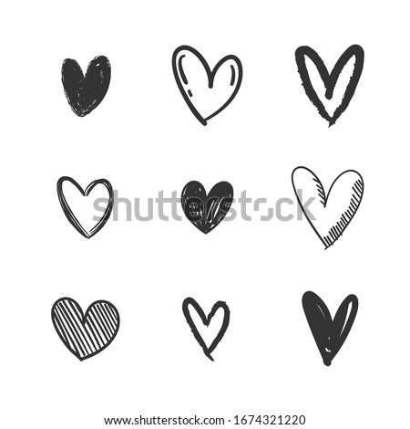 Heart doodles collection. Set of hand drawn isolated hearts. Love illustrations.