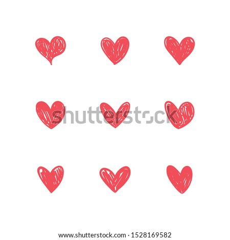 Heart doodles. Love symbol. Hand drawn collection of heart illustrations.