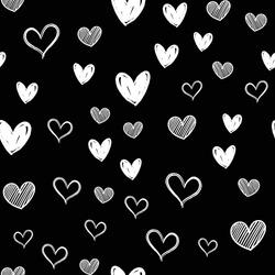 Heart doodles seamless pattern. Hand drawn hearts texture.