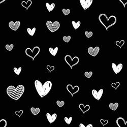 Heart doodles seamless pattern. Hand drawn hearts texture.