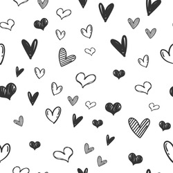 Heart doodles seamless pattern. Love illustration hearts hand drawn background.