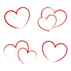Heart Draw handmade icon symbol logo , creative design