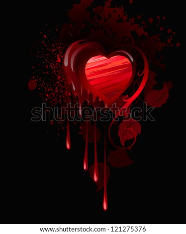 heart  drawn in red paint and