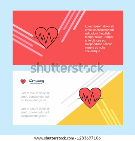 Heart ecg abstract corporate business banner template, horizontal advertising business banner.