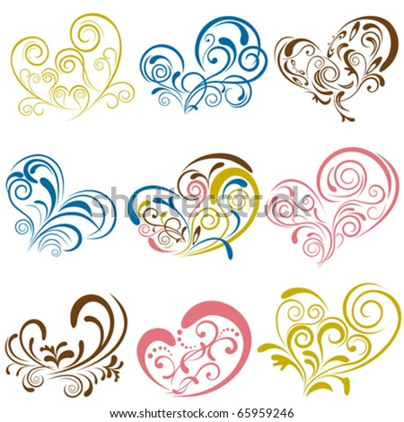 Heart elements set. Illustration vector.