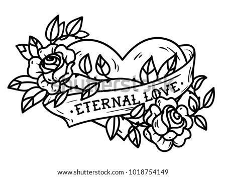 Heart With Ribbon In Tattoo Style Illustration Download Free