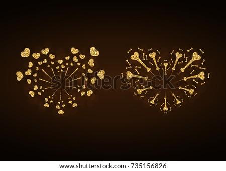 heart fireworks gold set