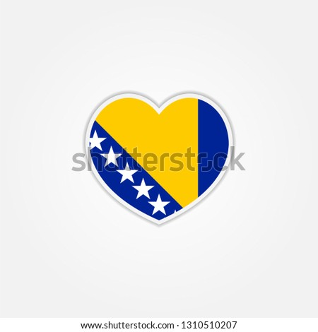 heart flag of bosnia and