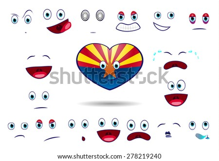 heart flag of state arizona with emotions