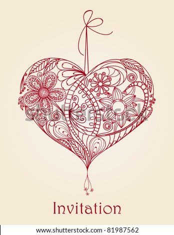Heart floral design, Hand-Drawn Illustration