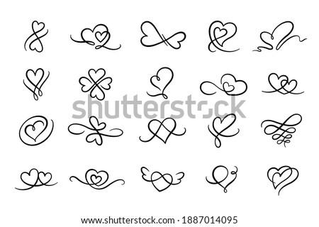 Heart flourish calligraphy sign. Love element decorative hand drawn flourishes,ornate,tattoo.