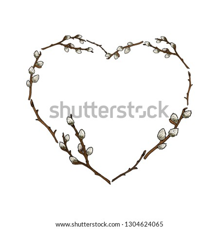 heart frame made of willow