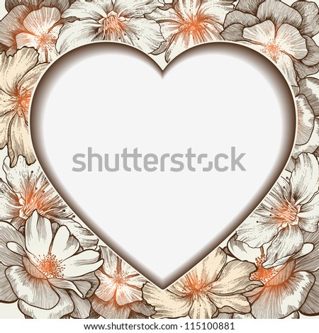 Heart frame with glamorous roses, hand-drawing. Vector illustration.