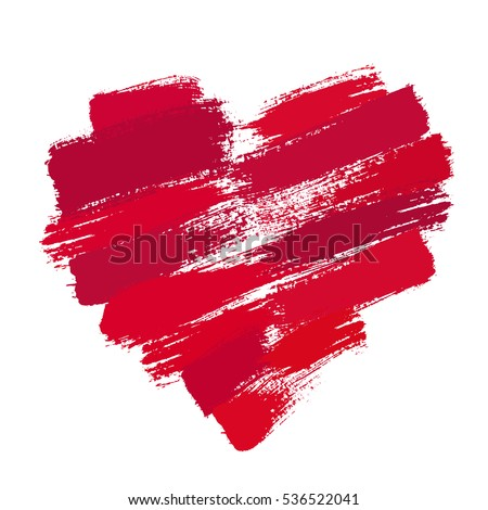 Heart from Brush Strokes. Grunge distressed texture. Painted love symbol. Hand drawn design element for Valentine card, banner, gift box decoration. Isolated on white background. Vector illustration.