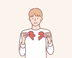 Heart from parts of a puzzle. Hand drawn style vector design illustrations.