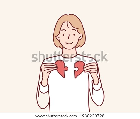 Heart from parts of a puzzle. Hand drawn style vector design illustrations. Stok fotoğraf ©