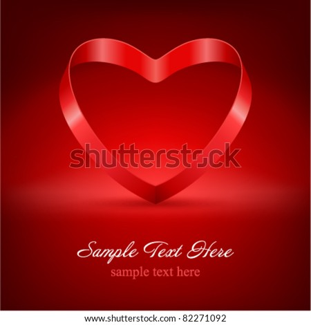 Heart from ribbon Valentine's day vector background eps 10