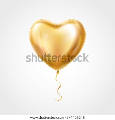 Heart Gold balloon on background
