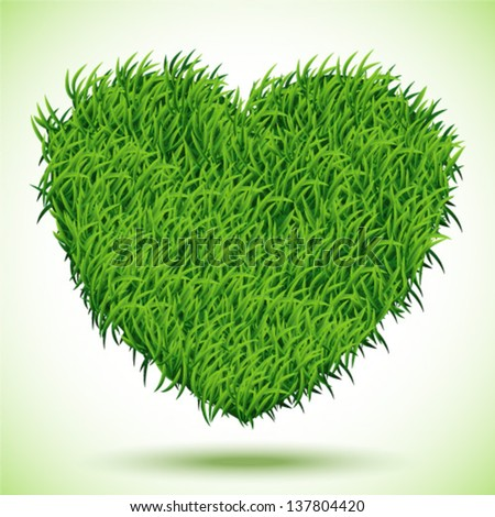 Heart Green Grass, vector Illustration