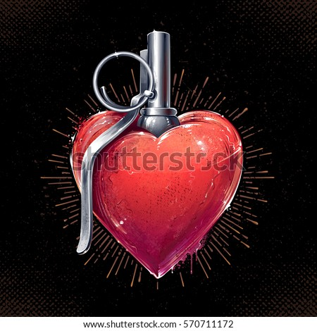 heart grenade art vector art