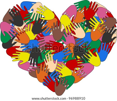 heart hand color ethnic love