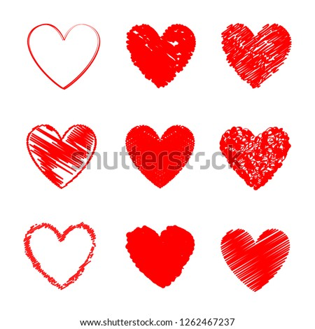 Heart hand drawn icons set isolated on white background. Collection of hand drawn hearts for web site, love logo, wallpaper and Valentine's day. Creative art, modern concept. Vector illustration