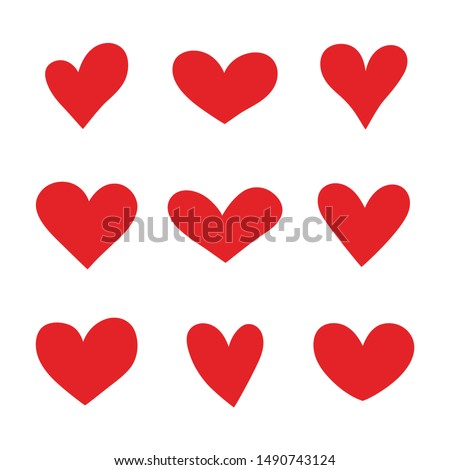 Heart hand drawn icons set isolated on white background. For poster, wallpaper and Valentine's day. Collection of hearts, creative art.