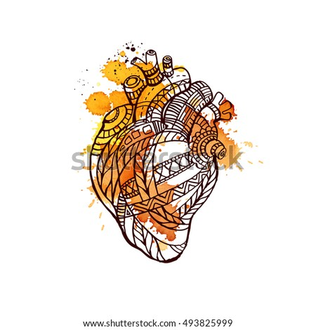 heart hand drawn vector