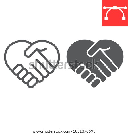 Heart handshake line and glyph icon, love and help, handshake sign vector graphics, editable stroke linear icon, eps 10