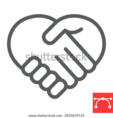 Heart handshake line icon, love and help, handshake sign vector graphics, editable stroke linear icon, eps 10