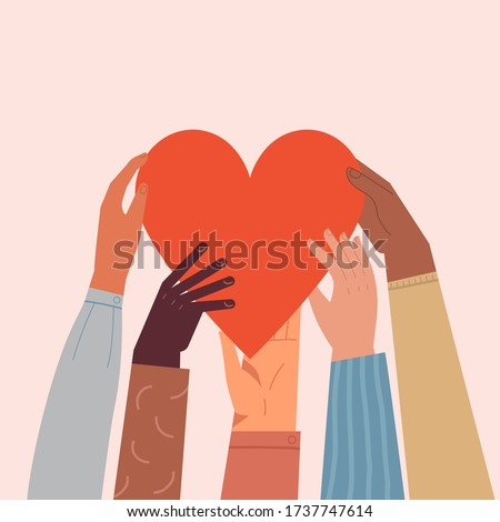 Heart holding by diverse hands. Vector illustration concept for sharing love, helping others, charity supported by global community