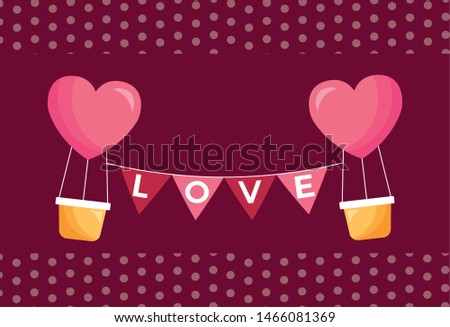 Heart hot air balloon design, Love valentines day romance relationship passion and emotional theme Vector illustration