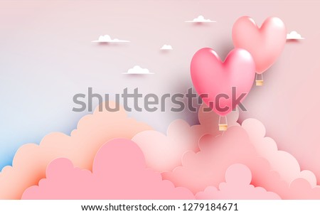 stock-vector-heart-hot-air-balloon-paper-art-style-with-pastel-sky-background-vector-illustration