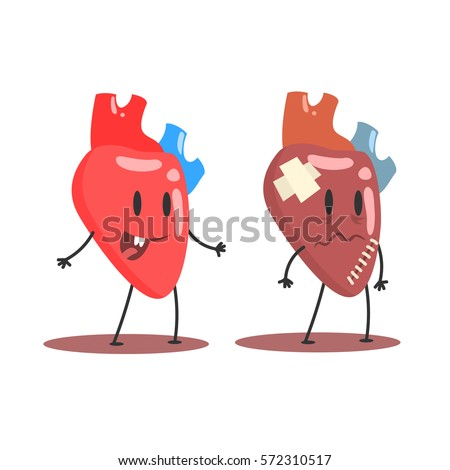 Heart Human Internal Organ Healthy Vs Unhealthy, Medical Anatomic Funny Cartoon Character Pair In Comparison Happy Against Sick And Damaged