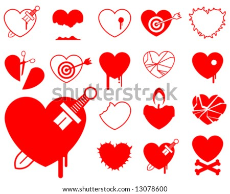 Heart icon collection (5) - blood/violence vector