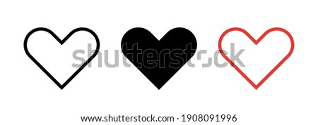 Heart icon collection. Live stream video, chat, likes, love symbol . Social media. Vector illustration.