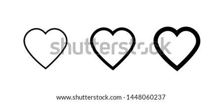 Heart icon collection, love symbols - Vector
